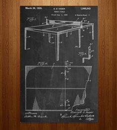 Ping Pong Table Patent Art Print   Share your extracurricular interests with some scholarly décor...   Posters #patentartprints #patentartdecor  #PatentArtPrints
