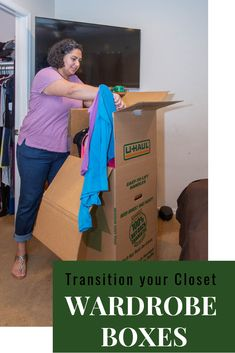 If you're lucky, temperatures are starting to rise and it might even be time to put away some winter clothes. Click through to learn how to keep them organized during the transition. Wardrobe Boxes, Wardrobe Closet, Moving Clothes, Moving Supplies, Moving Boxes, Pick Up In Store, Shoe Storage, Organizing Your Home, Winter Clothes