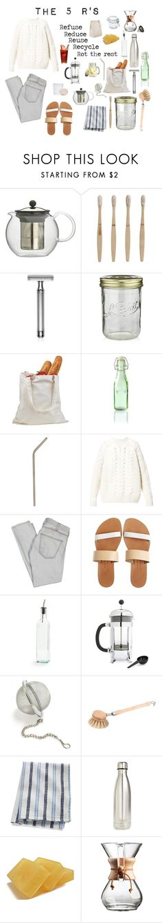 """Zero Waste Aesthetic"" by solarpunkartist on Polyvore featuring Bodum, ferm LIVING, Baxter of California, Crate and Barrel, Kilner, Diesel, Current/Elliott, Isapera, Sur La Table and Redecker"