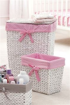 White Lined Laundry Baskets