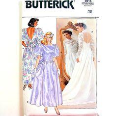 Vintage Wedding Dress Patterns | 80s Vintage Wedding Dress Pattern Bridal Gown Bridesmaid Prom Dress ...