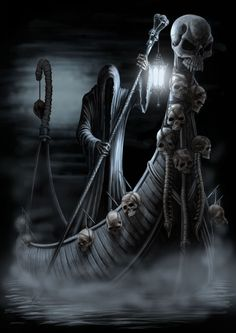 Charon- Greek myth: the ferryman of the river Styx that separates the world of the living and the world of the dead. He gives a ride to the deceased for one coin, which is given to the dead in burial. He is often described as a hooded, skinny figure with a ferryman pole to guide his boat.