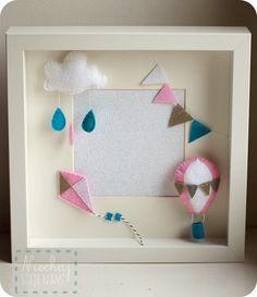 balloon cloud kite garland drops photo felt frame shadow box