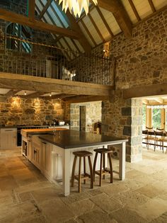 Dom Jaworzno: A Modern Living Place with Elegant Interior Design and Colorful Style Stone Barns, Stone Houses, Antique Farmhouse, Farmhouse Style, Modern Farmhouse, Grange Restaurant, Restaurant Design, Barn Conversion Interiors, Barn House Conversion