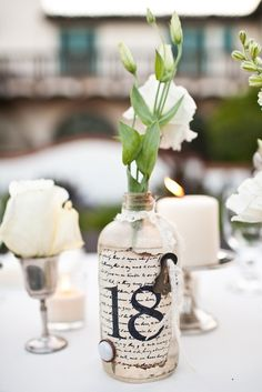 Antique Bottle Table Numbers.  Amy, we could do table numbers on the wine bottles.  Thoughts?