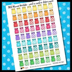 FREE Printable Planner Stickers - Mason Jars. Rainbow of colors for your planners. Download the PDF and print on sticker paper or card stock. By RebeccaB Designs.