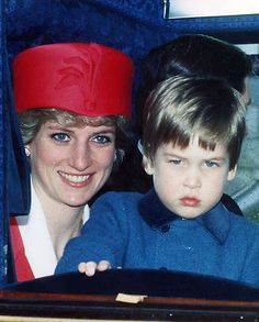 Princess Diana and William returning from a birthday celebration for Queen Elizabeth II, her 60th (1986) William was upset because he had wanted to stay at Windsor Castle.        Diana seems so patient with his 'pout' face. :)