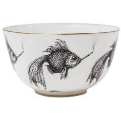 Rory Dobner Home Small Smokey Fish Fine Bone China Bowl (3500 RSD) ❤ liked on Polyvore featuring home, kitchen & dining, serveware, fish bowl, bone china, round bowl and round fish bowl