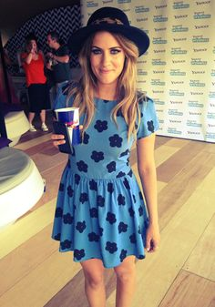 Caroline Flack wearing a cute Alice and Eve Blue dress