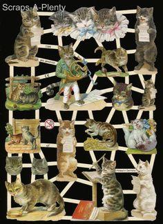 German Victorian Style Embossed Scrap Die Cut - Musical Cats  WOW  EF7288