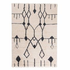 Linie Design' Aragon Modern Rug 140 x 200 cm: Aragon rug has an eastern inspired look with a bold yet sophisticated white and black pattern.