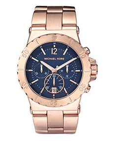 Michael Kors Watch, Women's Chronograph Dylan Rose Gold Tone Stainless Steel Bracelet 43mm MK5410 - Rose Gold Watches - Jewelry & Watches - Macy's