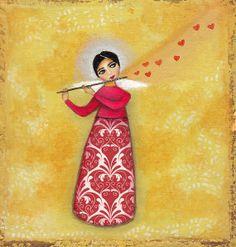 The music of love/ ORIGINAL acrylic FOLK ANGEL painting
