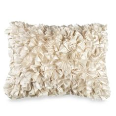 Extreme Ruffles 15-Inch x 20-Inch Decorative Toss Pillow in Ivory - BedBathandBeyond.com