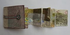 West Dean Mapping (sold), by Cas Holmes Concertina Book, Accordion Book, Cas Holmes, Fabric Journals, Fabric Books, Stitch Book, Artist Sketchbook, Paper Book, Book Projects