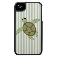 Cute Sea Turtle on Green Stripe Iphone 4 Case
