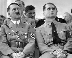 Hot Hitler!! 1934 sitting next to Rudolf Hess. Behind them are Brueckner, Fritz Wiedemann and an obscured Julius Schaub.