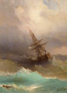 Ship in the Stormy Sea - Ivan Aivazovsky.  Ivan Konstantinovich Aivazovsky (Russian: Ива́н Константи́нович Айвазо́вский, Armenian: Հովհաննես Այվազովսկի Hovhannes Ayvazovski;[b] 29 July 1817 – 2 May 1900) was a Russian Empire Romantic painter. He is considered one of the greatest marine artists in history. Baptized as Hovhannes Aivazian, Aivazovsky was born into an Armenian family in the Black Sea port of Feodosia and was mostly based in his native Crimea.