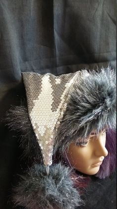 8697262f2d230 Limited Edition Silver Sequin Santa hat with gray and silver Sequin Fabric