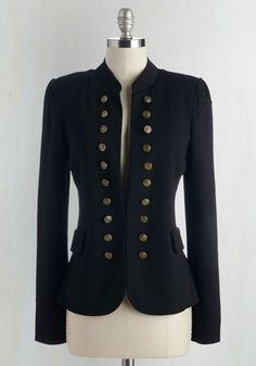 Short Steampunk Jacket with buttons -  I Glam Hardly Believe It Blazer in Black $49.99 AT vintagedancer.com