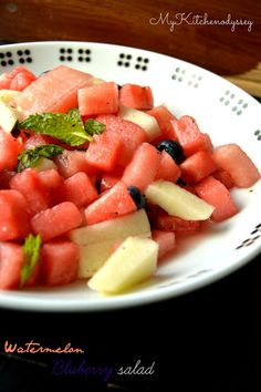 My Kitchen Odyssey - Indian Recipes From Scratch : Fruit Salad With Watemelon and BlueBerry Watermelon Blueberry Salad, Watermelon Mint, Blueberry Fruit, Fruit Salad Recipes, Watermelon Recipes, Fruit Salads, Lunch Recipes, Mint Salad, Filling Snacks