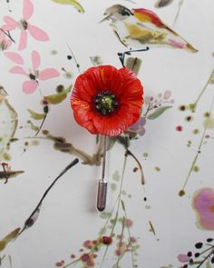 HAND PAINTED RED POPPY PIN Memorial Wedding Corsage Remembrance Lapel Flower Pin #HandmadeArtistKerryWilliams