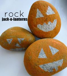 rock jack-o-lantern craft for the kids!