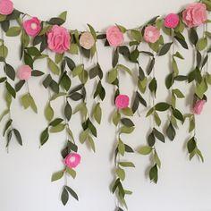Felt Flower Floral Backdrop Garland Blush by fancythatparty