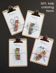 DIY: make these darling mini-clipboard coloring favors for all the little ones at your wedding!