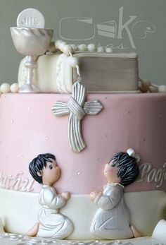 for angelic siblings Pooja and Mathu.... Pink and Yellow First Holy Communion Cake