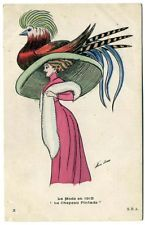 Post Card Xavier Sager Woman With Large Bird Hat
