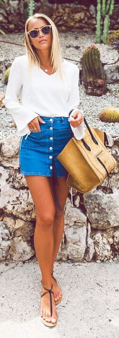 Janni Deler Pre Fall Stylish Casual Outfit Idea CollectiveStyles.com Denim skirt white blouse