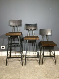 "Industrial Bar Stool Made from Reclaimed Wood - Bar height (30"") , Counter Height (25""),  and 18"" High! - Fast shipping!"