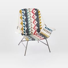 All-Weather Wicker Colorblock Woven Lounge Chair – Large (Multi) #westelm