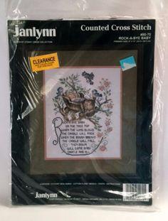 Rock A Bye Baby Sampler Counted Cross Stitch Kit Nursery Decor Janlynn 8070 New Vintage