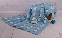 Crochet Baby Set /Blanket + Baby booties/ Baby Blanket White & Blue Baby shower gift Blanket for boys Bunny travel stroller pram Newborn