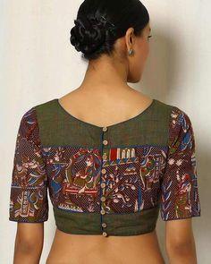 Buy Green Indie Picks Kalamkari Print Cotton Blouse Kalamkari Blouse Designs, Cotton Saree Blouse Designs, Kalamkari Blouses, Linen Blouse, Simple Blouse Designs, Stylish Blouse Design, Blouse Designs Catalogue, Designer Blouse Patterns, Beautiful Mehndi