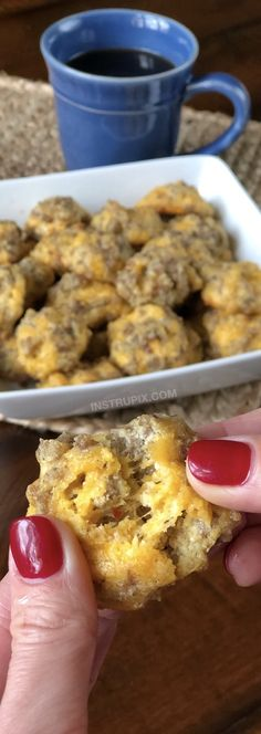 Cheesy Sausage Puffs | An easy low carb and keto recipe idea for on the go! They're perfect for breakfast and snacks through out the day. Easy Ketogenic Diet, Atkins and Diabetic Recipe for weight loss... low carb but full of flavor!! Instrupix.com