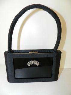 Minaudière soirée bakélite décor markasite et étui tissu noir Art Deco 1930
