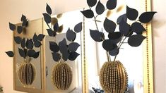 Diy Mirror Decor With 3D Decorative Flowers and Vase Using Dollar Tree I...