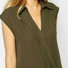 ASOS Olive Green Sleeveless Top NWT Size 6 Olive Green Sleeveless Too ASOS 100% Polyester  *I apologize that the item is wrinkled my iron just stopped working ASOS Tops Blouses