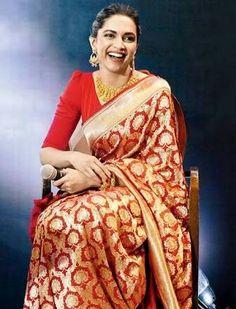 Deepika Padukone in a classic Benarasi saree Bridal Silk Saree, Saree Wedding, Wedding Dress, Party Looks, Deepika Padukone Saree, Banarsi Saree, Silk Kurti, Lehenga, Hair