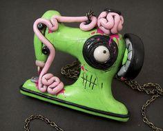 Zombie Sewing Machine Necklace in green and pink by beatblack hahahahahahaha(breathe)hahahahahahaha!