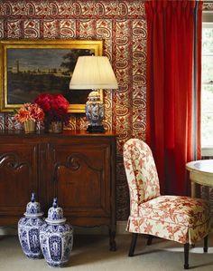 Charlotte Moss For Fabricut Red Interior Design Calico Corners Textiles English House