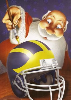 Michigan UM Wolverines NCAA University Christmas Cards and Envelopes 12-Pack