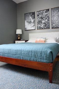 Marti & Jarrod's Graphic Modern Home. Love the mid century style bed with nailhead headboard. If I could design a bed...