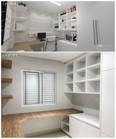 Office and study room Home Office Closet, Home Office Bedroom, Office Nook, Home Office Space, Home Office Desks, Modern Home Offices, Small Home Offices, Bedroom Minimalist, Minimalist Furniture