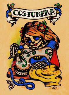 Bought this lovely print today, Day of the Dead, in rememberance of my Mother. <3  Dia de los Muertos Art SEAMSTRESS Sewing Print 8 x 10. $15.50, via Etsy.
