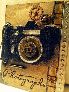 Vintage Handmade: Photographs book front cover Tim Holtz Blog, Valentines Day Drawing, Camera Cards, Crackle Painting, Elizabeth Craft Designs, Handmade Tags, Distressed Painting, Masculine Cards, Photo Book