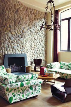 sofas with all over plant pattern
